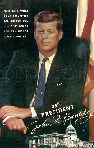 John F Kennedy (1917-1963), American Democrat politician and 35th President of the United States. Postcard, 20th century.