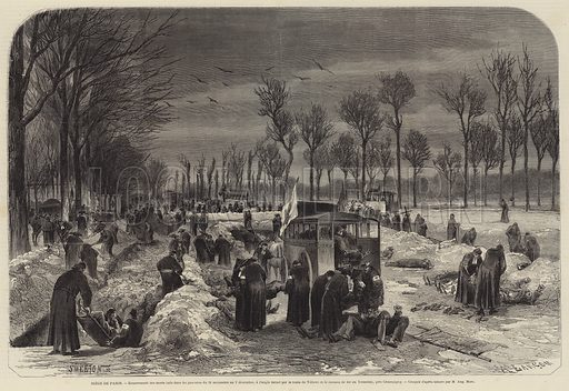 Burial of soldiers killed in the attempt by the French to break out from the Siege of Paris between 29 November and 2 December 1870 during the Franco-Prussian War. Illustration for L'Illustration, Journal Universel.