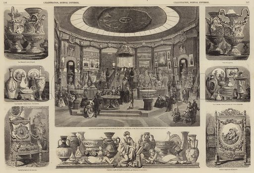 Exhibits of French crafts at the Exposition Universelle, Paris, 1855. Illustration for L'Illustration, Journal Universel, 29 September 1855.