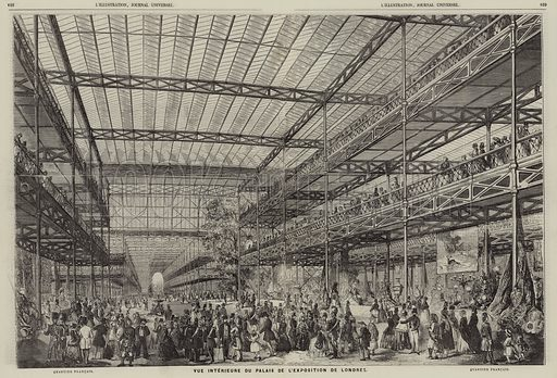 View of the interior of the Crystal Palace during the Great Exhibition of 1851, Hyde Park, London. Illustration for L'Illustration, Journal Universel, 15 March 1851.