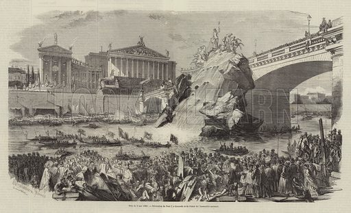 Boats on the River Seine and crowds on the riverbank by the Pont de la Concorde and the National Assembly building, Paris, Festival of 4 May 1851. Illustration for L'Illustration, Journal Universel, 10 May 1851.