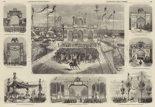 Entree de Prince Louis Napoleon a Paris, Octobre 1852. Louis Napoleon entering Paris, greeted by banners calling for the restoration of the French Empire with him as emperor. Illustration for L'Illustration, Journal Universel, 23 October 1852.