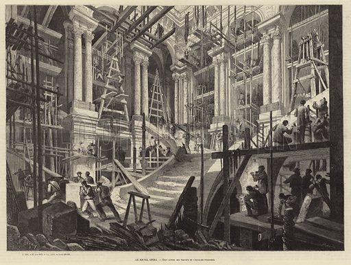 Interior view of the Palais Garnier, home of the Paris Opera, during construction, 1873. Illustration for L'Illustration, Journal Universel, 23 August 1873.