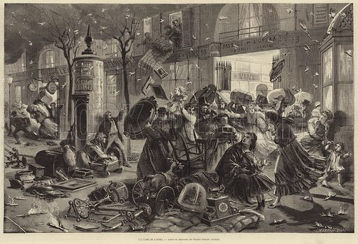 Scene on the Boulevard des Italiens during the fire that destroyed the Opera le Peletier in Paris on the night of 28-29 October 1873. Illustration for L'Illustration, Journal Universel, 8 November 1873.