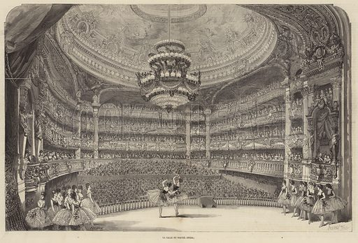 Auditorium of the Palais Garnier, new home of the Paris Opera, 1875. Illustration for L'Illustration, Journal Universel, 16 January 1875.