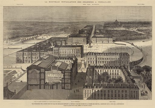 View of the Palace of Versailles, France, showing the new hall of the Chamber of Deputies, the lower house of the French Parliament. Illustration for L'Illustration, Journal Universel, 29 May 1875.