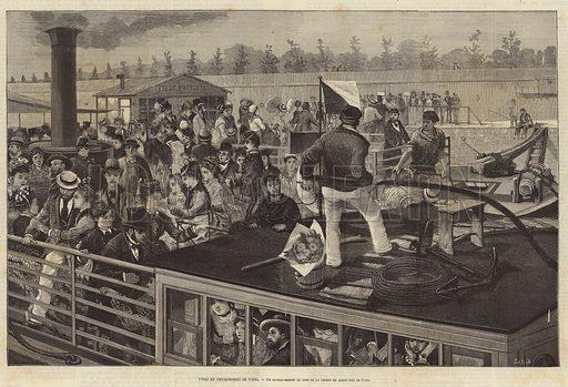 Bateau Mouche on the River Seine on the day of the Grand Prix de Paris horse race at Longchamp. Illustration for L'Illustration, Journal Universel, 5 June 1875.