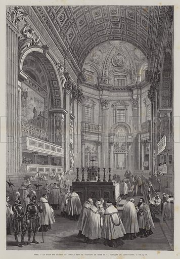 North transept of St Peter's Basilica, Vatican City, Rome, Italy. Illustration from L'Univers Illustre, 12 March 1870.