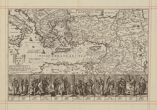 Map of the  travels and voyages of the Apostles of Christ. Illustration for The History of the Old and New Testament translated from De Royaumont (2nd edn, 1701).