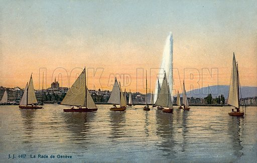 Yachts in the harbour of Geneva, Switzerland. Postcard, early 20th Century.