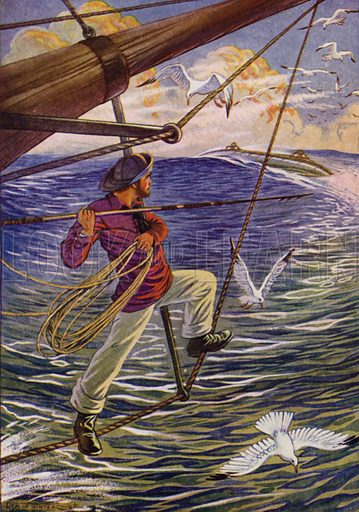 The Canadian, his body thrown slightly backward, brandished his harpoon in an experienced hand. Illustration for Twenty Thousand Leagues Under The Sea by Jules Verne (Rand McNally, 1922).