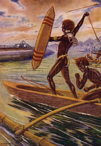 """The canoes at a given signal approached the """"Nautilus"""" and a shower of missiles alighted on her. Illustration for Twenty Thousand Leagues Under The Sea by Jules Verne (Rand McNally, 1922)."""