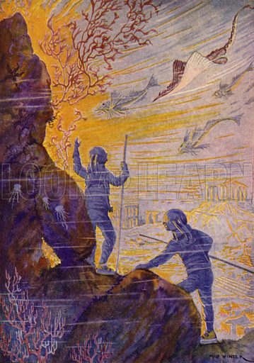 There, indeed, right beneath my eyes, lay a town that had been destroyed. Illustration for Twenty Thousand Leagues Under The Sea by Jules Verne (Rand McNally, 1922).