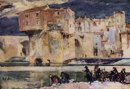 On the Tarn at Millau in Southern France. Illustration for A Book of Bridges by Frank Brangwyn and Walter Shaw Sparrow (John Lane The Bodley Head, 1915).