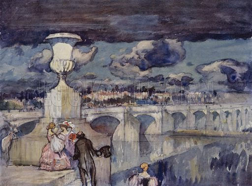 Pont de Tours, a famous bridge of the XVIII century. Illustration for A Book of Bridges by Frank Brangwyn and Walter Shaw Sparrow (John Lane The Bodley Head, 1915).