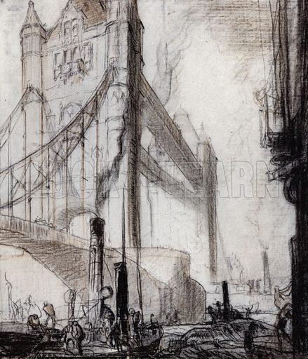 The Tower Bridge, London. Illustration for A Book of Bridges by Frank Brangwyn and Walter Shaw Sparrow (John Lane The Bodley Head, 1915).