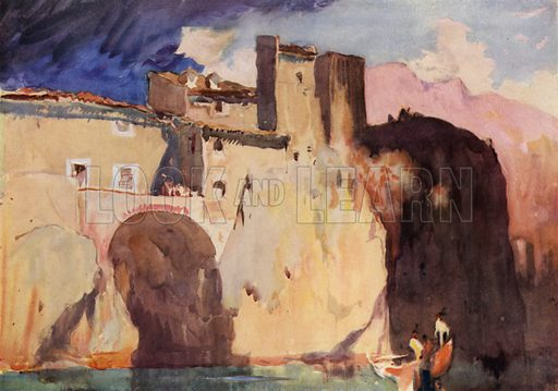 Laroque on the River Lot, near Cahors, a sort of inland Gibraltar; a part of the village is built on bridges thrown across chasms in the rocks. Illustration for A Book of Bridges by Frank Brangwyn and Walter Shaw Sparrow (John Lane The Bodley Head, 1915).