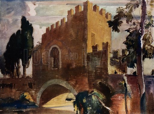 The Ponte Nomentano, a mediaeval war-bridge in the Campagna, three miles from Rome. Illustration for A Book of Bridges by Frank Brangwyn and Walter Shaw Sparrow (John Lane The Bodley Head, 1915).