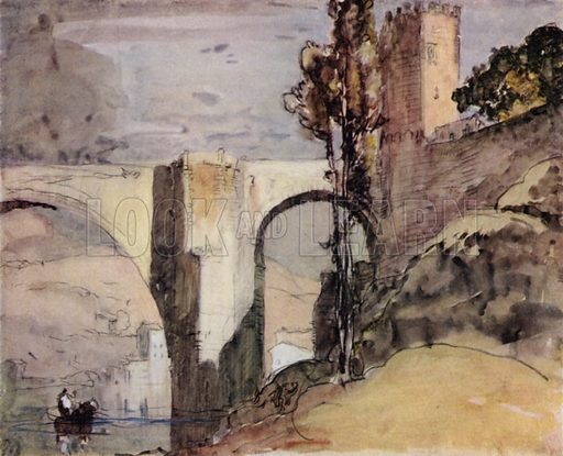 The Alcantara at Toledo, showing the Moorish gateway tower at the town end of the bridge. Illustration for A Book of Bridges by Frank Brangwyn and Walter Shaw Sparrow (John Lane The Bodley Head, 1915).