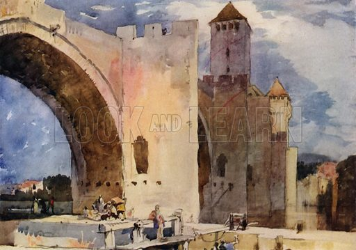Pont Valentre at Cahors-sur-Lot a fortified bridge, thirteenth century. Illustration for A Book of Bridges by Frank Brangwyn and Walter Shaw Sparrow (John Lane The Bodley Head, 1915).