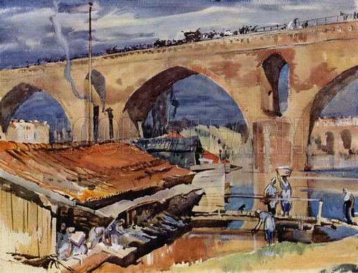 Le Pont des Consuls over the Tarn at Montauban in France, fourteenth century. Illustration for A Book of Bridges by Frank Brangwyn and Walter Shaw Sparrow (John Lane The Bodley Head, 1915).