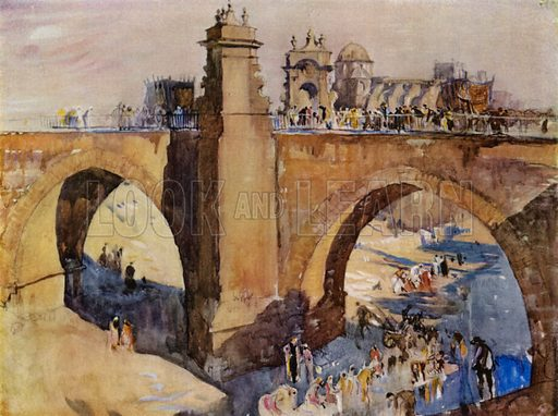 Gothic bridge with shrines at Elche in Spain. Illustration for A Book of Bridges by Frank Brangwyn and Walter Shaw Sparrow (John Lane The Bodley Head, 1915).