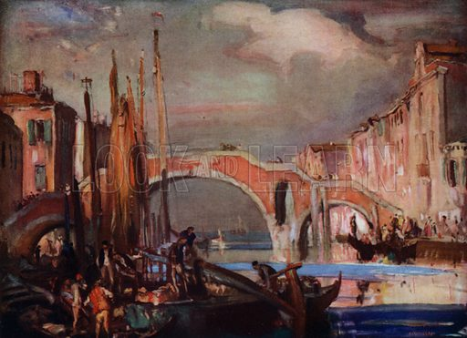 Three-arched bridge at Venice, over the canal of St Giobbe. Illustration for A Book of Bridges by Frank Brangwyn and Walter Shaw Sparrow (John Lane The Bodley Head, 1915).