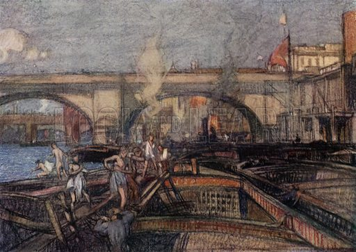 New London Bridge, designed by George Rennie, and carried out by his brother, Sir John Rennie. Illustration for A Book of Bridges by Frank Brangwyn and Walter Shaw Sparrow (John Lane The Bodley Head, 1915).