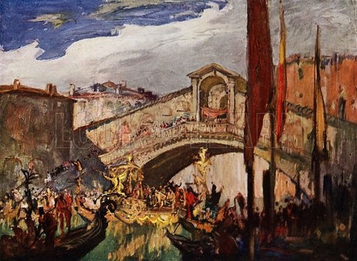 The Rialto, Venice designed in 1588 by Antonio da Ponte, architect. Illustration for A Book of Bridges by Frank Brangwyn and Walter Shaw Sparrow (John Lane The Bodley Head, 1915).