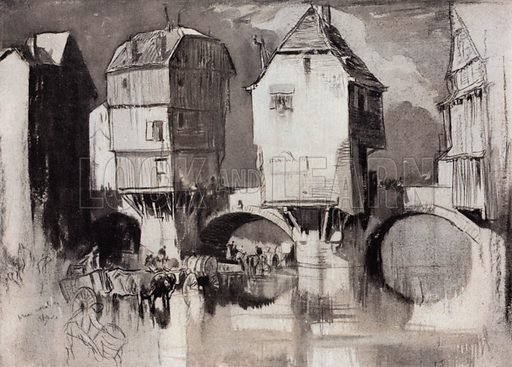 Old bridge with houses at Kreuznach, on the River Nahe, in Prussia. Illustration for A Book of Bridges by Frank Brangwyn and Walter Shaw Sparrow (John Lane The Bodley Head, 1915).