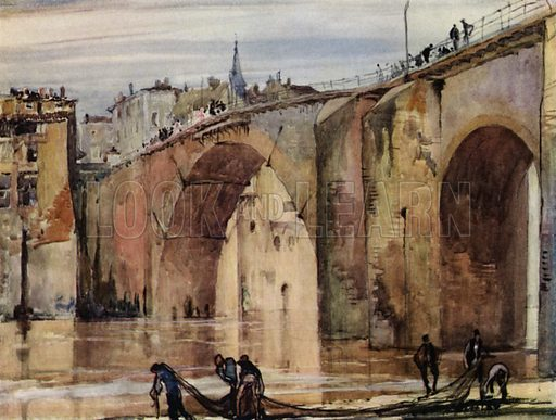 Gothic bridge at Villeneuve-sur-Lot, France. Illustration for A Book of Bridges by Frank Brangwyn and Walter Shaw Sparrow (John Lane The Bodley Head, 1915).