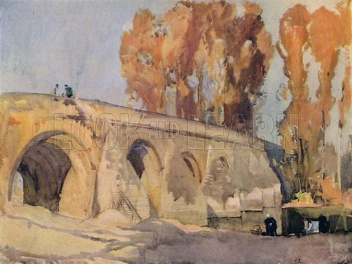 Le Pont de Vernay, Airvault, Deux-Sevres. Illustration for A Book of Bridges by Frank Brangwyn and Walter Shaw Sparrow (John Lane The Bodley Head, 1915).