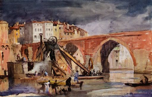 Pont du Tarn at Albi in France. Illustration for A Book of Bridges by Frank Brangwyn and Walter Shaw Sparrow (John Lane The Bodley Head, 1915).