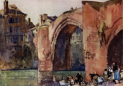 Famous bridge at Espalion in France said to date from the eighth century. Illustration for A Book of Bridges by Frank Brangwyn and Walter Shaw Sparrow (John Lane The Bodley Head, 1915).