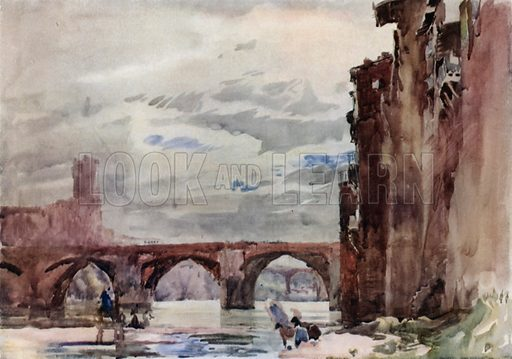 At Albi, on the Tarn, in France, showing on our right the old houses, and on our left, beyond the bridge, the great old church, famous for its fortifications. Illustration for A Book of Bridges by Frank Brangwyn and Walter Shaw Sparrow (John Lane The Bodley Head, 1915).