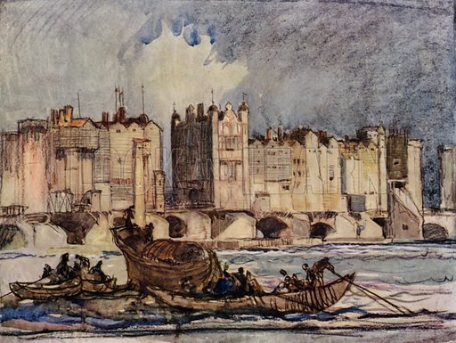 Old London Bridge, begun by Peter Colechurch in 1176, and finished by a Frenchman, called Isembert, in the year 1209. Illustration for A Book of Bridges by Frank Brangwyn and Walter Shaw Sparrow (John Lane The Bodley Head, 1915).