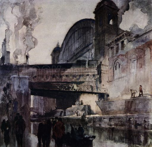 Cannon Street Railway Bridge, London. Illustration for A Book of Bridges by Frank Brangwyn and Walter Shaw Sparrow (John Lane The Bodley Head, 1915).