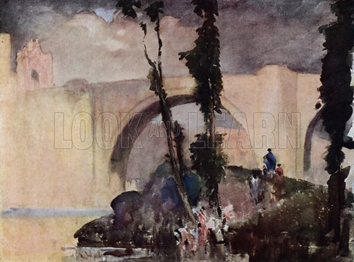 A great Spanish bridge, the Alcantara at Toledo. Illustration for A Book of Bridges by Frank Brangwyn and Walter Shaw Sparrow (John Lane The Bodley Head, 1915).