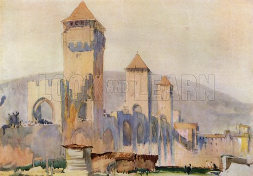 Pont Valentre at Cahors in France, the fortified gates and towers. Illustration for A Book of Bridges by Frank Brangwyn and Walter Shaw Sparrow (John Lane The Bodley Head, 1915).