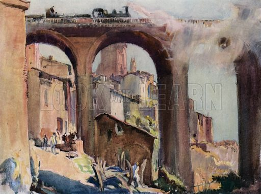 Railway bridge at Albi in France. Illustration for A Book of Bridges by Frank Brangwyn and Walter Shaw Sparrow (John Lane The Bodley Head, 1915).
