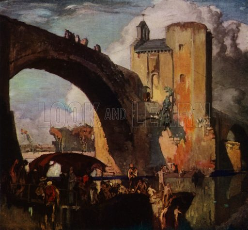 Pont St Benezet over the Rhone at Avignon, built between the years 1177 and 1185. Illustration for A Book of Bridges by Frank Brangwyn and Walter Shaw Sparrow (John Lane The Bodley Head, 1915).