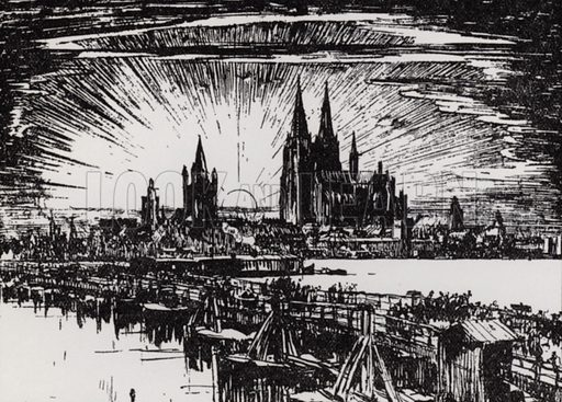 Bridge of Boats at Cologne. Illustration for A Book of Bridges by Frank Brangwyn and Walter Shaw Sparrow (John Lane The Bodley Head, 1915).