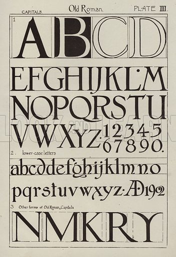 Old Roman. Illustration for Lettering for Schools and Colleges for the Office and Workship by Frank Steeley (G W Bacon, c 1900).