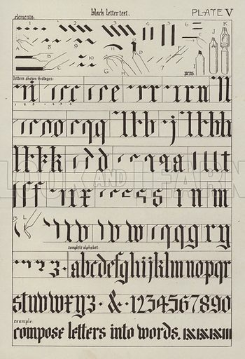 Black letter text. Illustration for Lettering for Schools and Colleges for the Office and Workship by Frank Steeley (G W Bacon, c 1900).