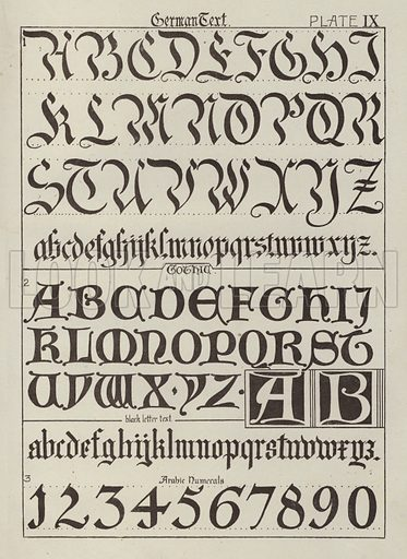 German Text. Illustration for Lettering for Schools and Colleges for the Office and Workship by Frank Steeley (G W Bacon, c 1900).