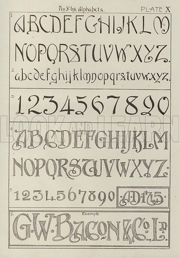 Pen and Ink Alphabets. Illustration for Lettering for Schools and Colleges for the Office and Workship by Frank Steeley (G W Bacon, c 1900).