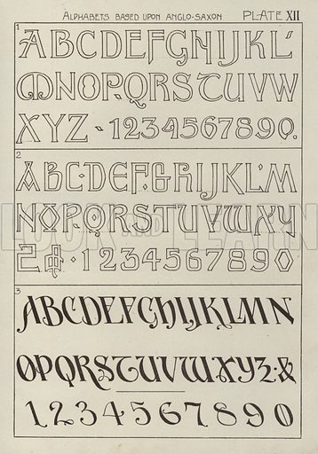 Alphabets based upon Anglo-Saxon. Illustration for Lettering for Schools and Colleges for the Office and Workship by Frank Steeley (G W Bacon, c 1900).