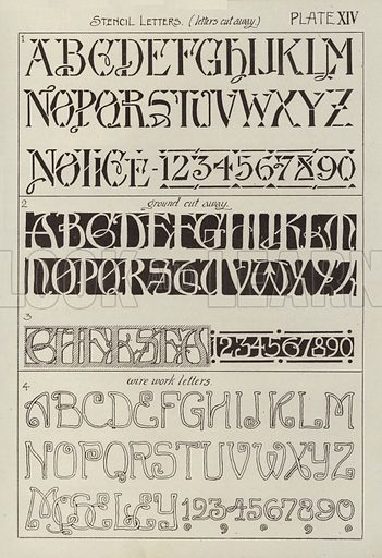 Stencil Letters, letters cut away. Illustration for Lettering for Schools and Colleges for the Office and Workship by Frank Steeley (G W Bacon, c 1900).