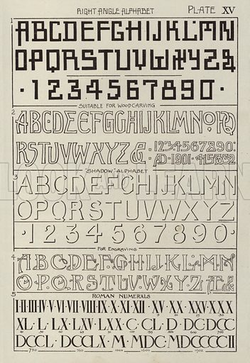 Right Angle Alphabet. Illustration for Lettering for Schools and Colleges for the Office and Workship by Frank Steeley (G W Bacon, c 1900).