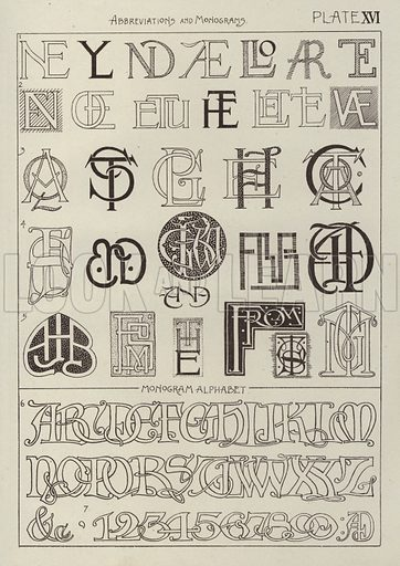Abbreviations and Monograms. Illustration for Lettering for Schools and Colleges for the Office and Workship by Frank Steeley (G W Bacon, c 1900).